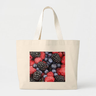 berries background large tote bag