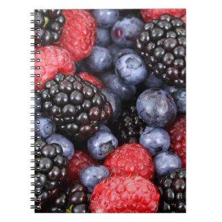 berries background spiral notebook
