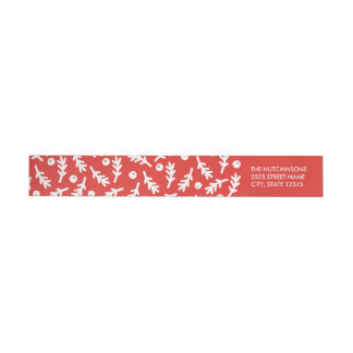 Berries & Boughs Holiday Wraparound Label - Red Wraparound Return Address Label