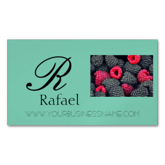 Berries Fruit Elegant Name Monogram Business Magnetic Business Card