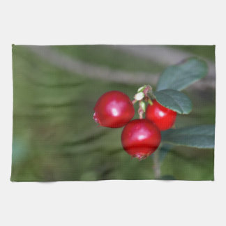 Berries of a wild lingonberry (Vaccinium vitis-ide Kitchen Towel