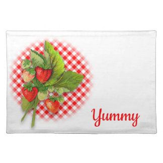 Berries on Gingham, Vintage Botanical Strawberries Placemat
