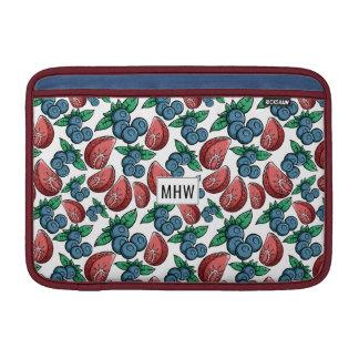 Berries Pattern custom monogram Macbook sleeves