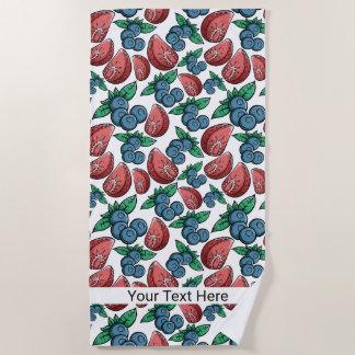 Berries Pattern custom text beach towel