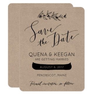 Berry and Canoe Save the Date Card