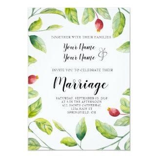 Berry and Wreath Wedding Invitation