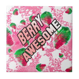 Berry Awesome Fruity Strawberries Ceramic Tiles