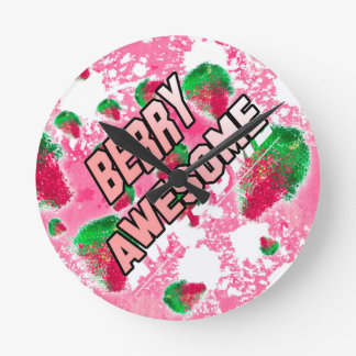 Berry Awesome Fruity Strawberries Round Clock
