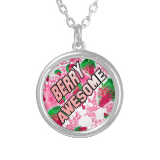 Berry Awesome Fruity Strawberries Silver Plated Necklace