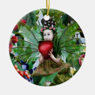 Berry Fairy Round Ceramic Ornament