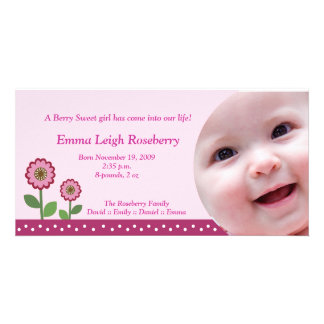 Berry Flower Garden 8x4 Photo Birth Announcement Card