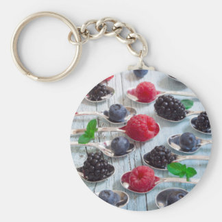 berry fruit basic round button keychain