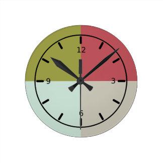 Berry Mint Olive Pebble Round Clock