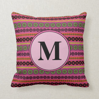 Berry Pink Boho Modern Aztec Pattern Monogram Throw Pillow