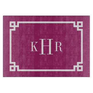 Berry Purple Greek Key Border Custom Monogram Boards