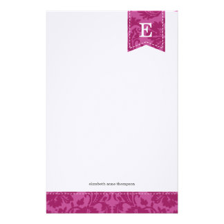 Berry Purple Vintage Damask Custom Monogram Stationery Design