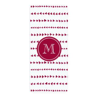 Berry Red White Aztec Arrows Monogram 4x9.25 Paper Invitation Card