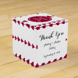 Berry Red White Aztec Arrows Monogram Party Favor Box