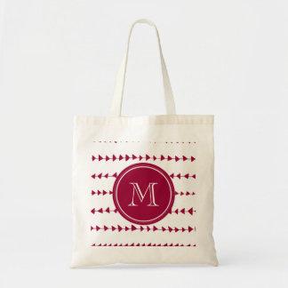 Berry Red White Aztec Arrows Monogram Tote Bag