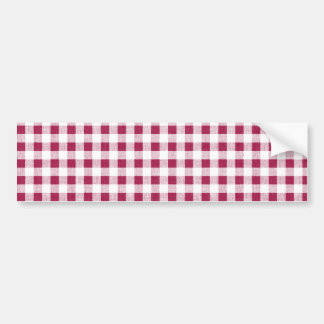 Berry Red White Gingham Pattern Bumper Sticker