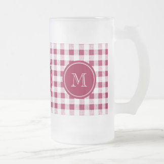 Berry Red White Gingham, Your Monogram 16 Oz Frosted Glass Beer Mug