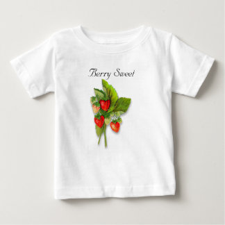 """Berry Sweet"", Realistic Vintage Strawberry Plant Baby T-Shirt"