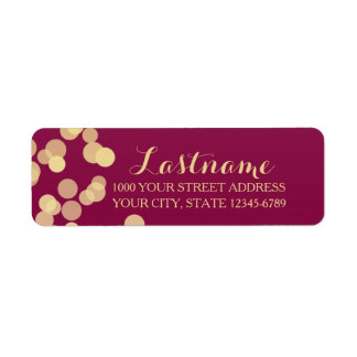 Berry Wine and Gold Sparkle Return Address Label