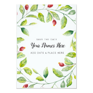 Berry Wreath Save the Date Card