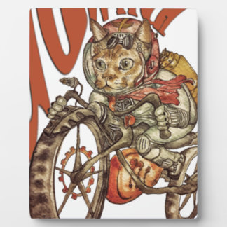 Berserk Steampunk Motorcycle Cat Go Wild T-Shirt.p Plaque