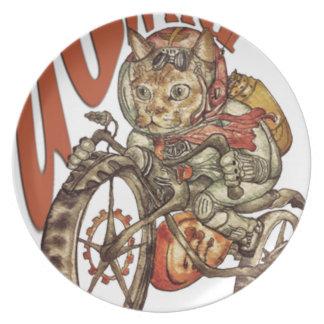 Berserk Steampunk Motorcycle Cat Go Wild T-Shirt.p Plate