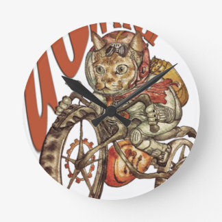 Berserk Steampunk Motorcycle Cat Go Wild T-Shirt.p Round Clock
