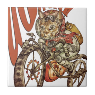 Berserk Steampunk Motorcycle Cat Go Wild T-Shirt.p Tile