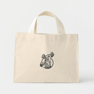 Berserker Lifting Barbell Kettlebell Circle Retro Mini Tote Bag