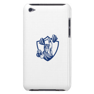 Berserker Lifting Barbell Kettlebell Crest Retro Barely There iPod Case