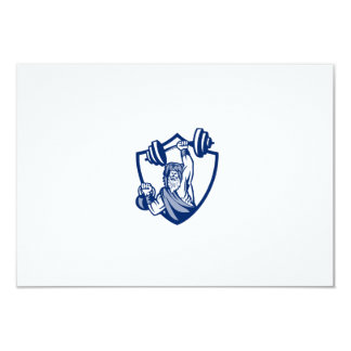 Berserker Lifting Barbell Kettlebell Crest Retro Card