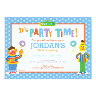 "Bert and Ernie Birthday 5"" X 7"" Invitation Card"