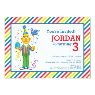 "Bert Striped Birthday 5"" X 7"" Invitation Card"