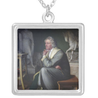 Bertel Thorvaldsen in his studio at Rome, 1834 Silver Plated Necklace