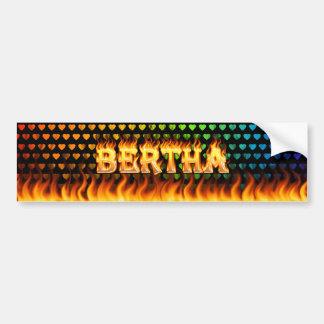 Bertha real fire and flames bumper sticker design