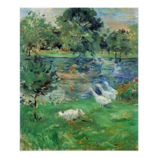 Berthe Morisot-Girls in a boat with geese Poster