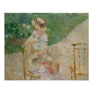 Berthe Morisot - Young Woman Knitting Poster
