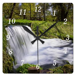 Beside Hodgson Spring Falls Square Wall Clock
