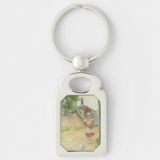 Beside  the Cellar Silver-Colored Rectangle Keychain