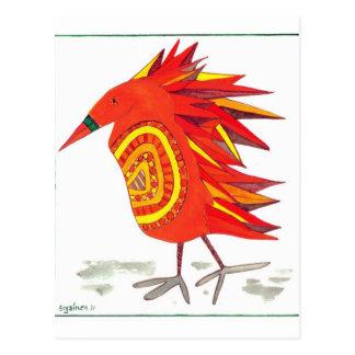Bessie Bird Post Card Bead-Bellied Block Feather