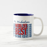 Best 2nd Grade Teacher Add Name Blue Red B31 Coffee Mug