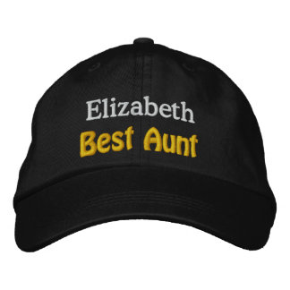 Best Aunt Custom Name V01 BLACK with GOLD WHITE Embroidered Hats
