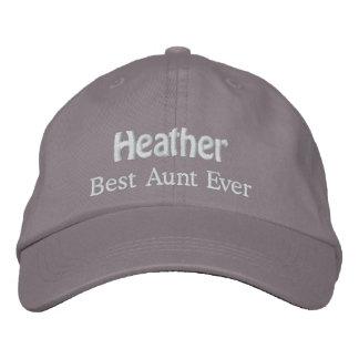 Best Aunt Custom Name V04 GRAY with WHITE Thread Baseball Cap