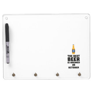Best Beer is brewed in October Z5k5z Dry Erase Board With Keychain Holder
