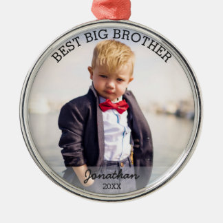 Best Big Brother New Baby Custom Christmas Photo Silver-Colored Round Ornament