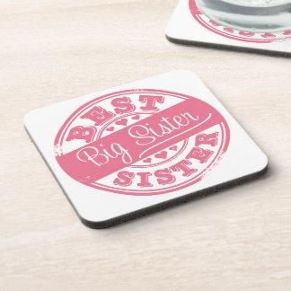 Best Big Sister -rubber stamp effect- Beverage Coasters